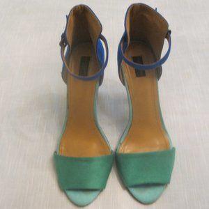 Zara Blue&Green Suede Ankle Strap Heels Size 6.5.